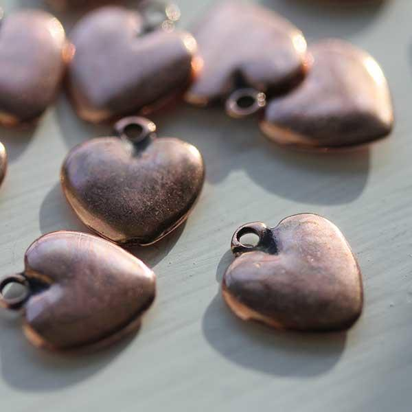 Antique Copper Small Heart Charm