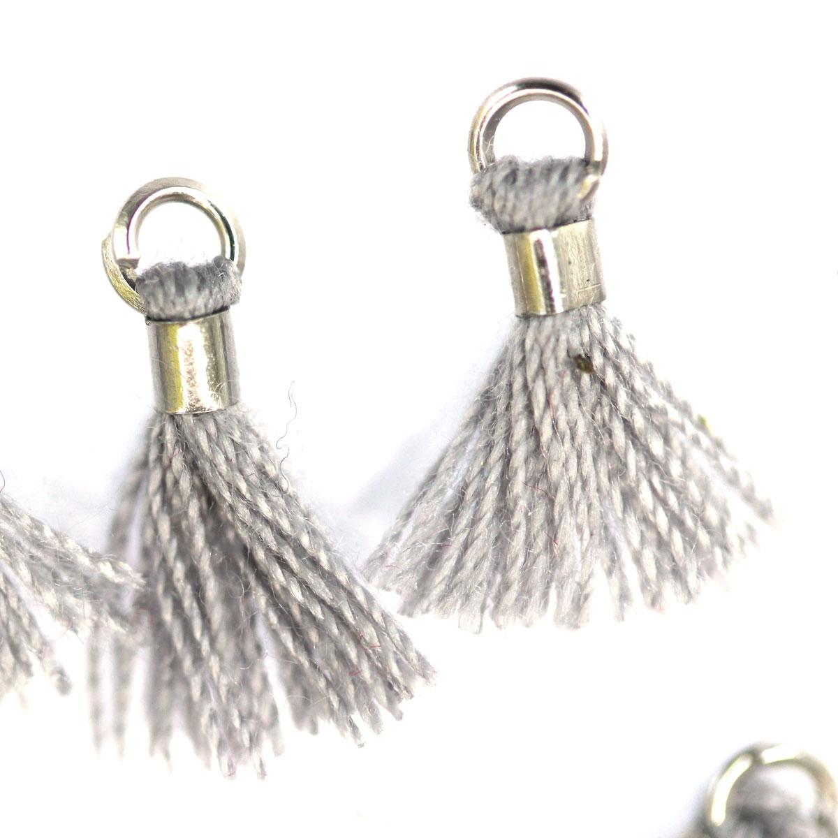 Grey Tiny Tassel with silver ring