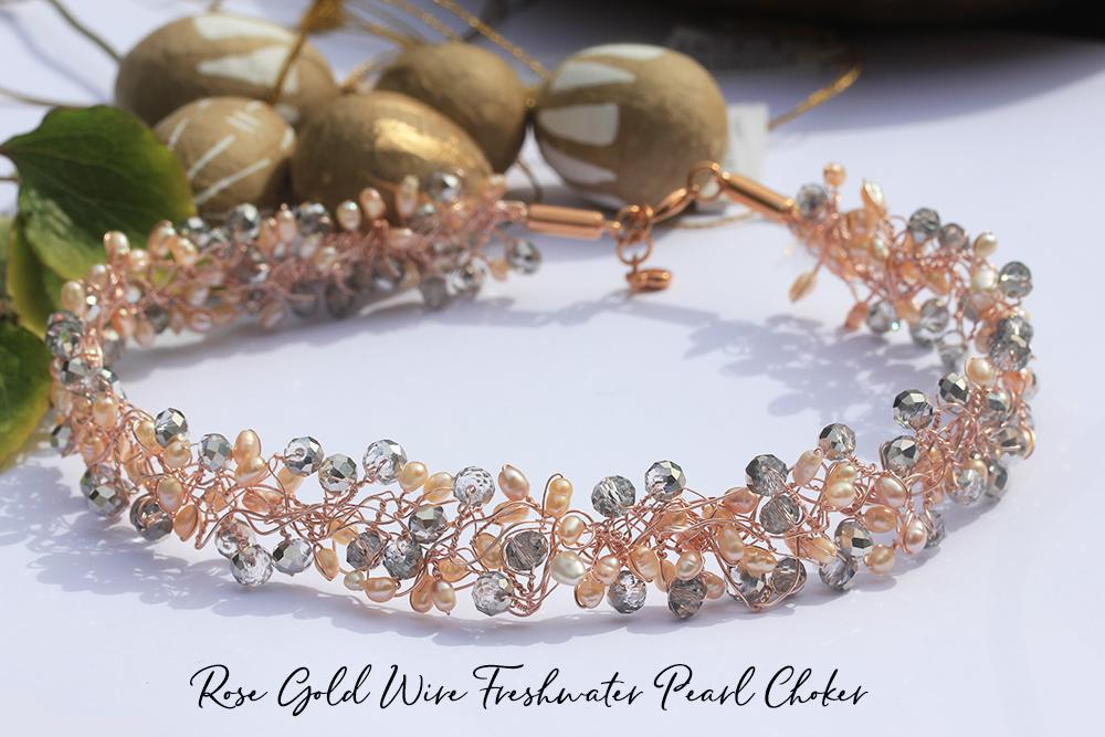 Rose Gold Wire Freshwater Pearl Choker