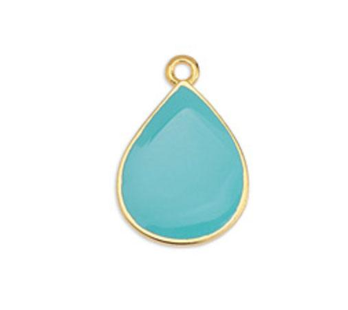 Aqua Enamelled Pendant Drop on Gold - G12