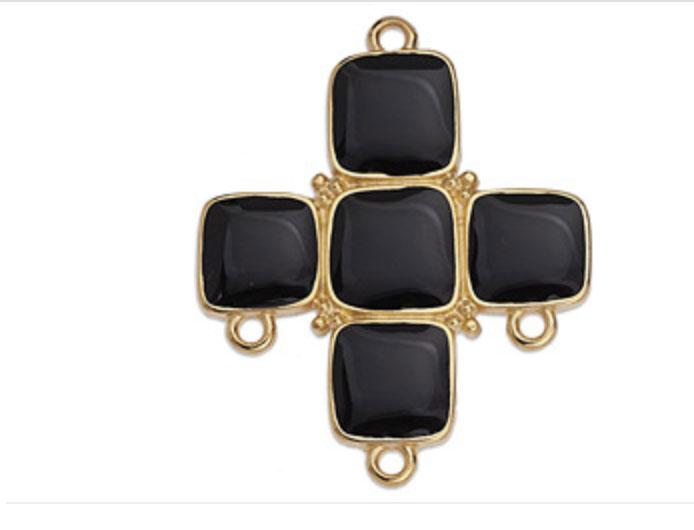 Black Cross with five enamelled squares and rings - G17