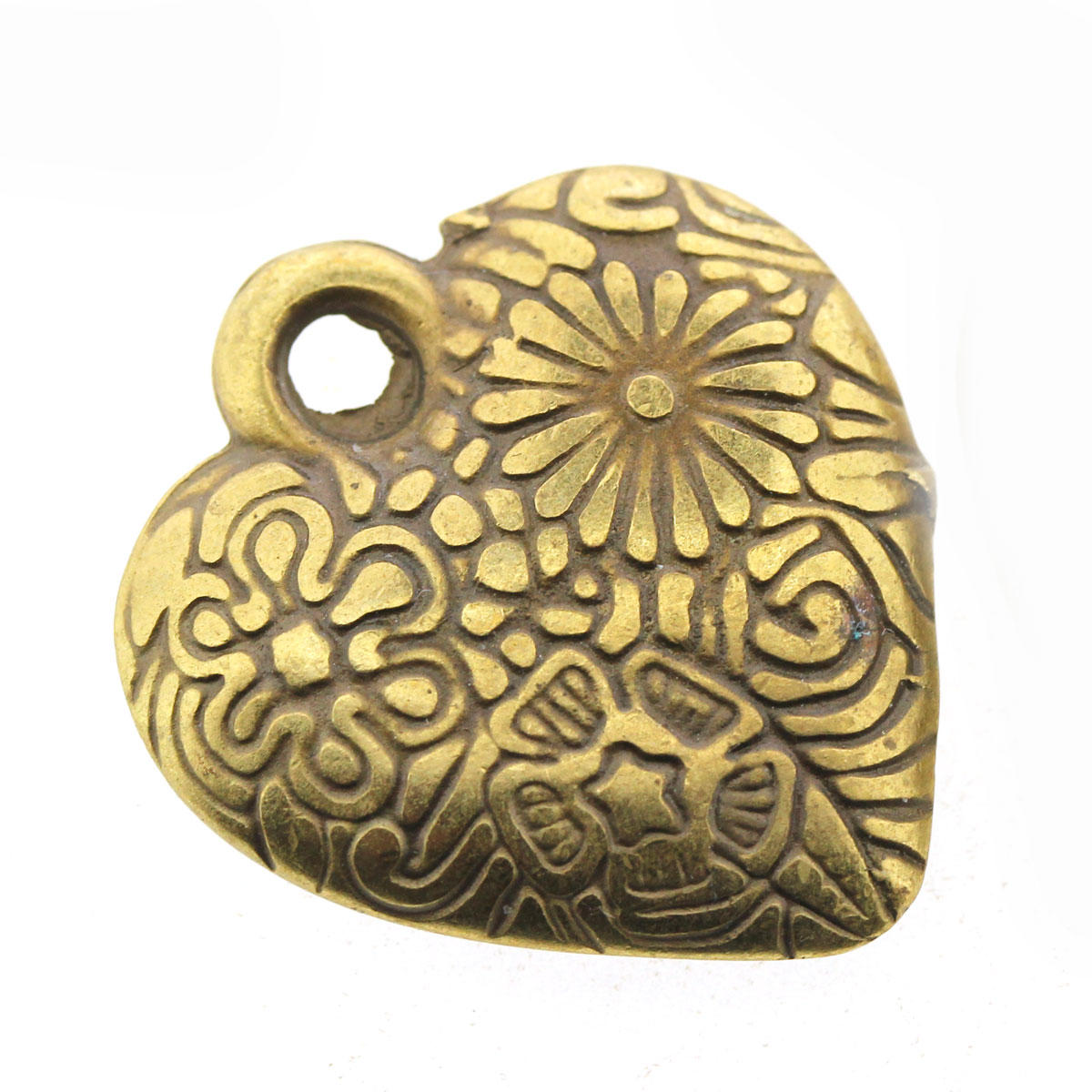 Antique Gold Flowered Heart Charm