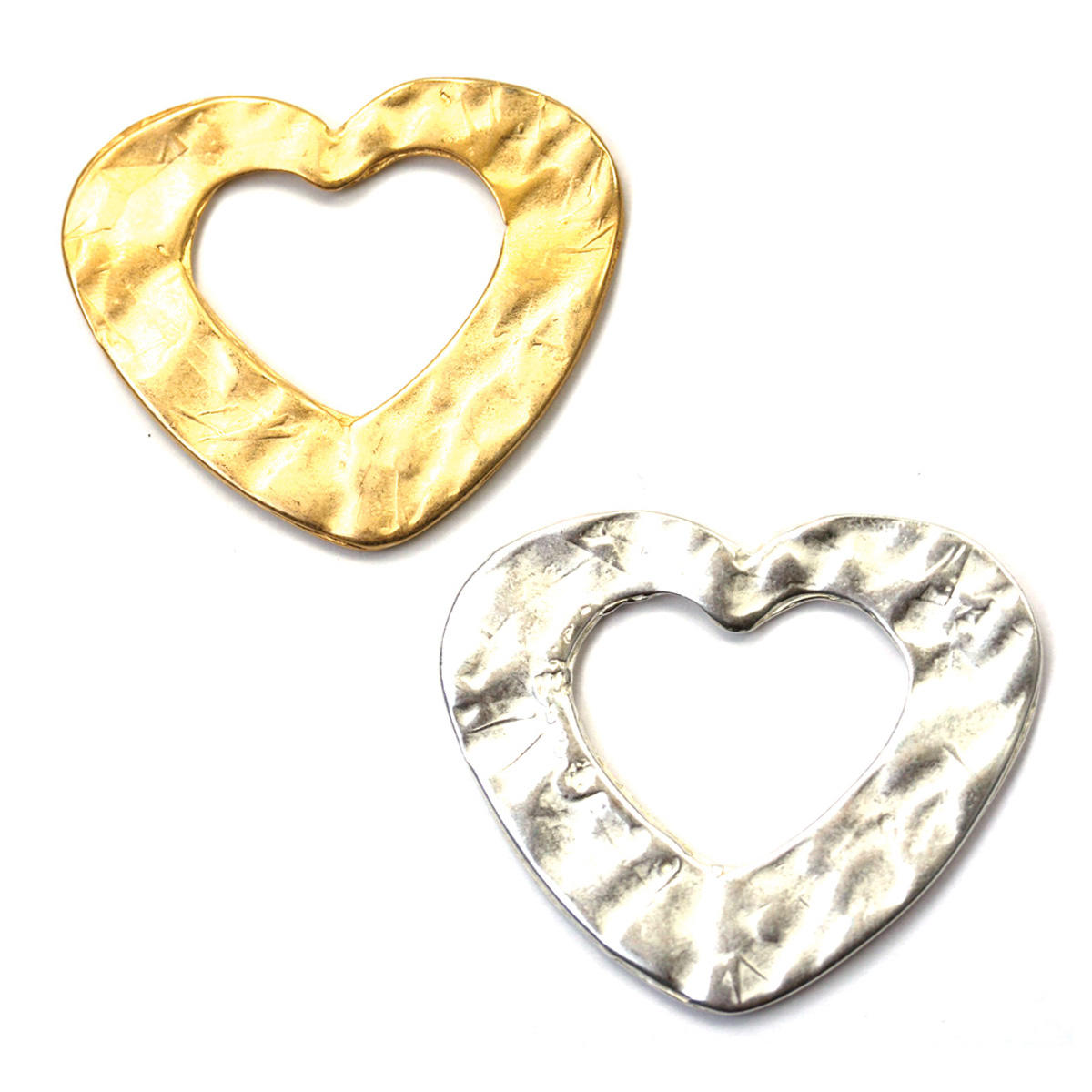 Gold Hammered Large Heart Charm