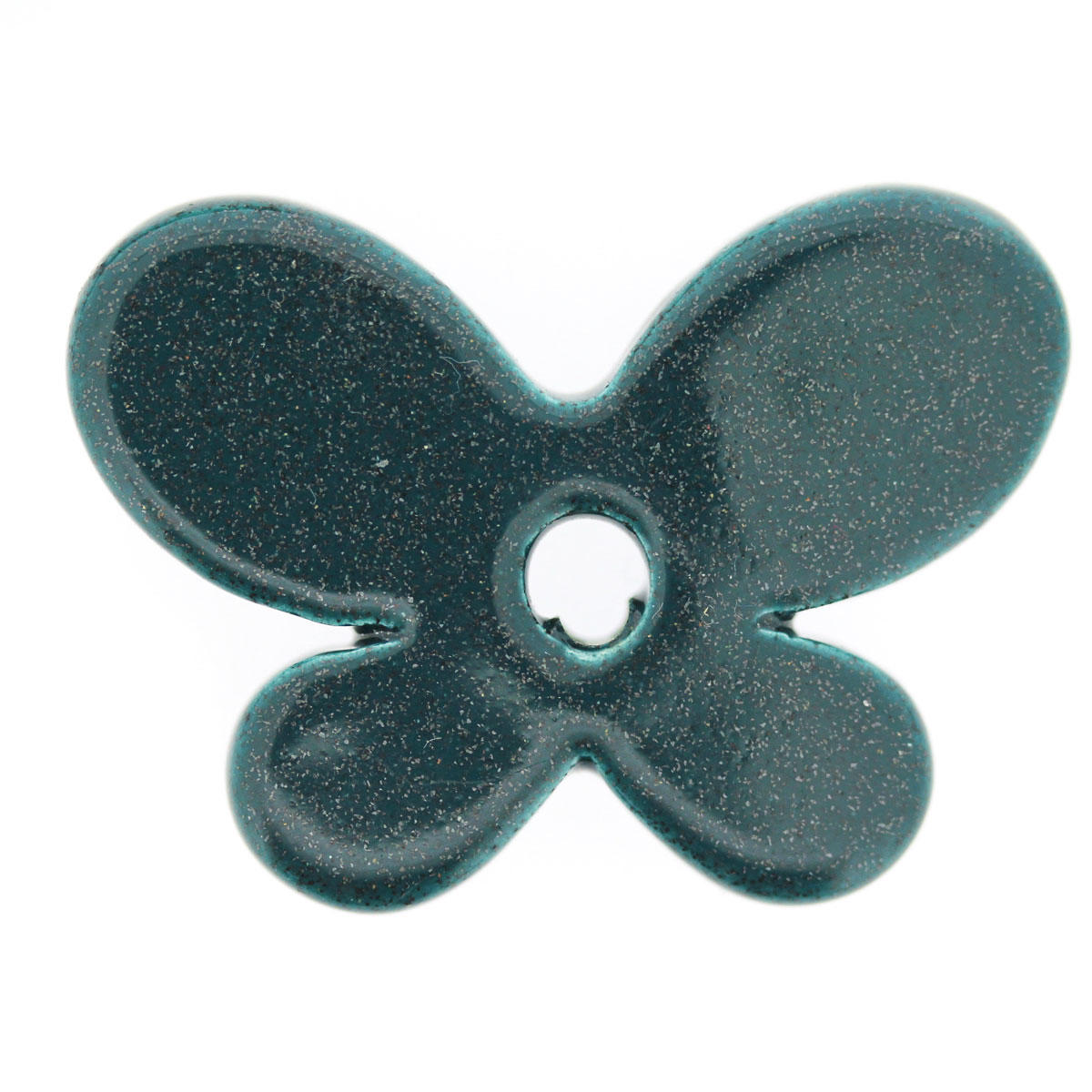 Teal Sparkle Ceramic Butterfly Bead