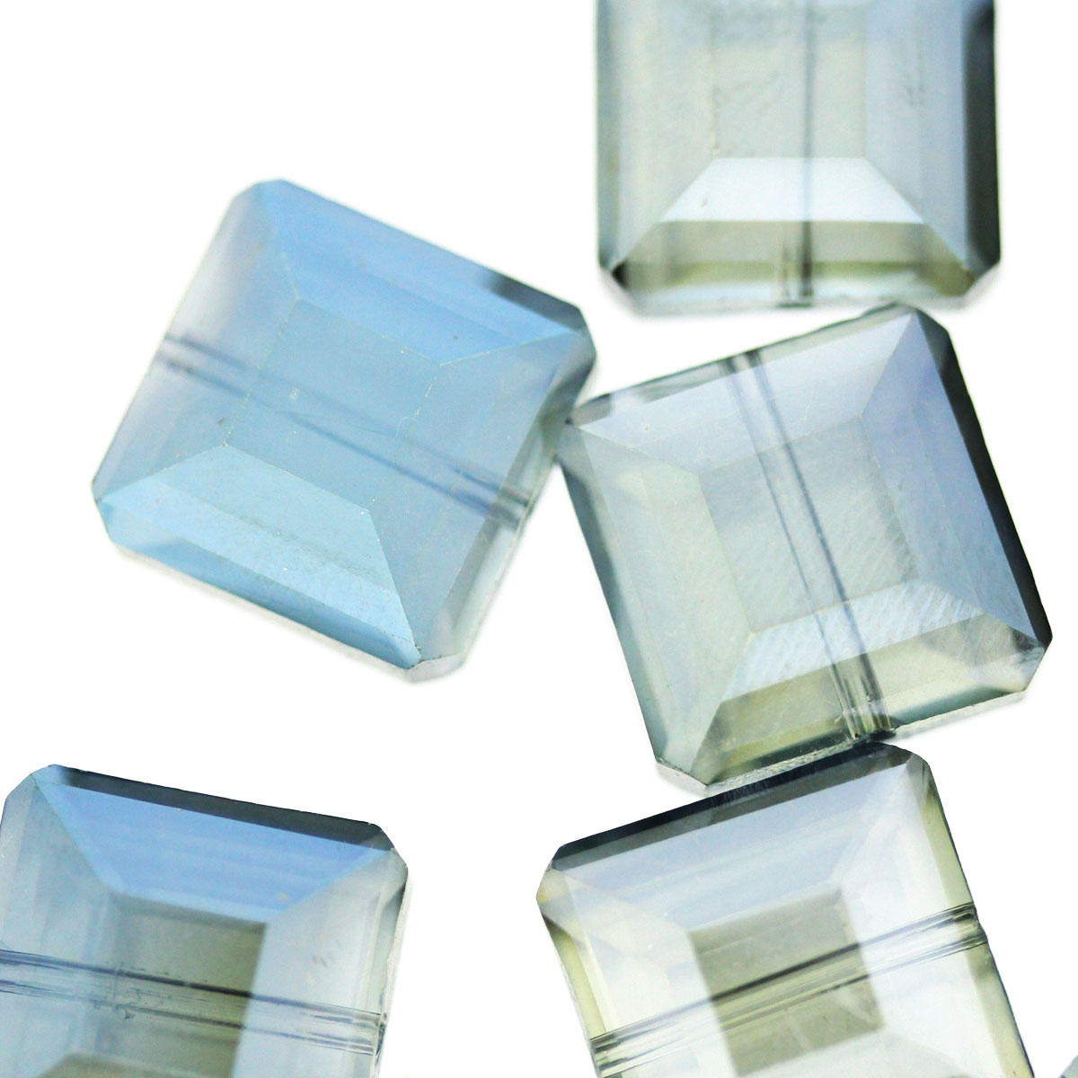 Airforce Blue Faceted Square Glass Bead