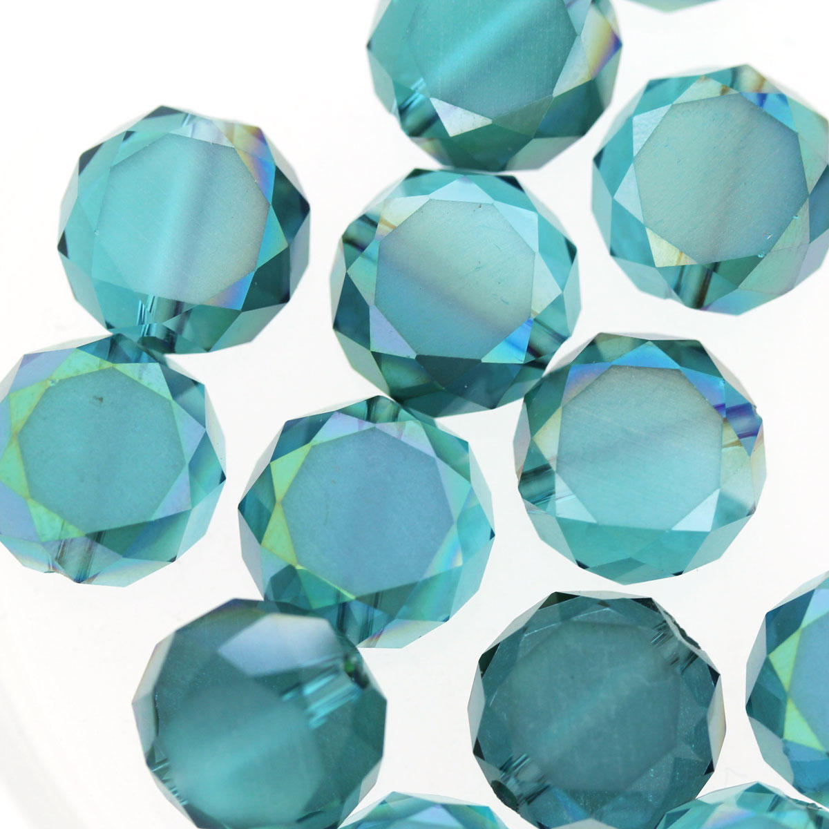 Aqua Electroplated Glass Cushion Beads