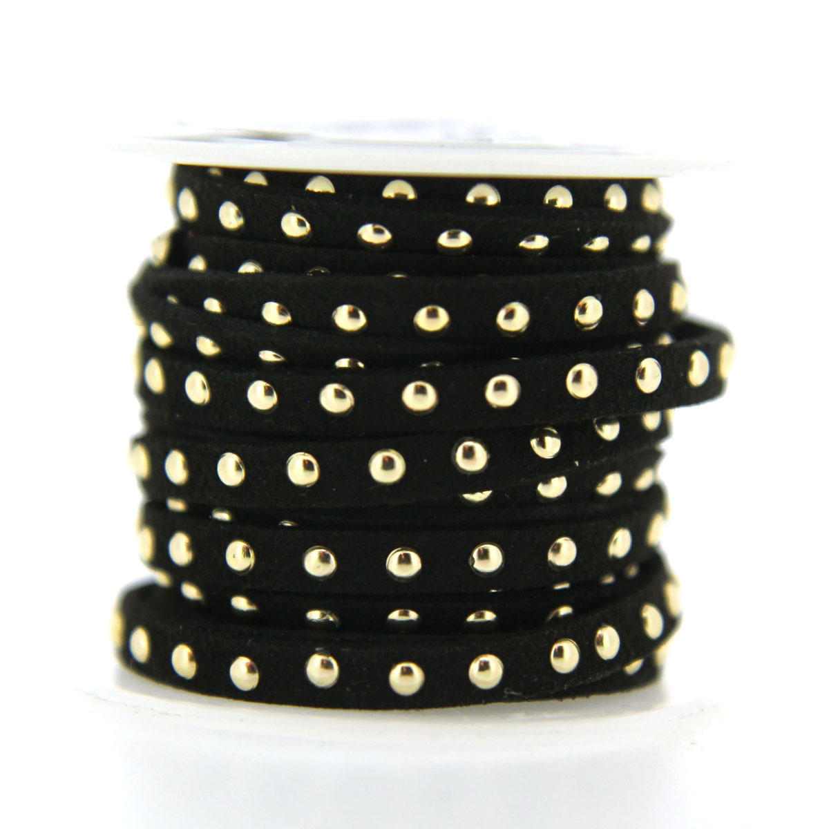 Black 5mm Faux Suede with Gold Rivets