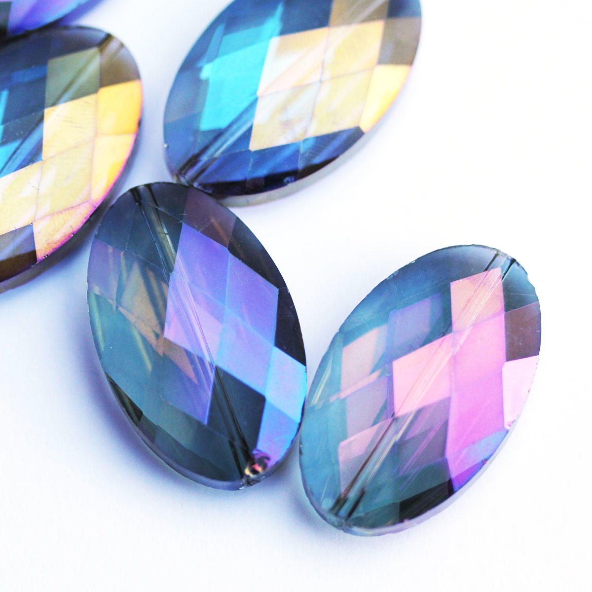 Blue/Purple Large Faceted Oval EP Glass Beads