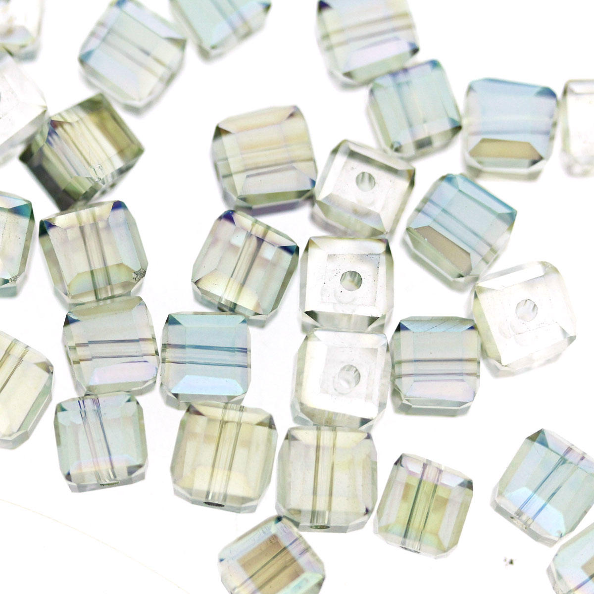 Green Tinted Electroplated Faceted Glass Cube