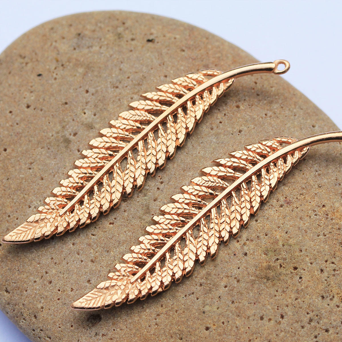 Rose Gold  Long Fern Leaf