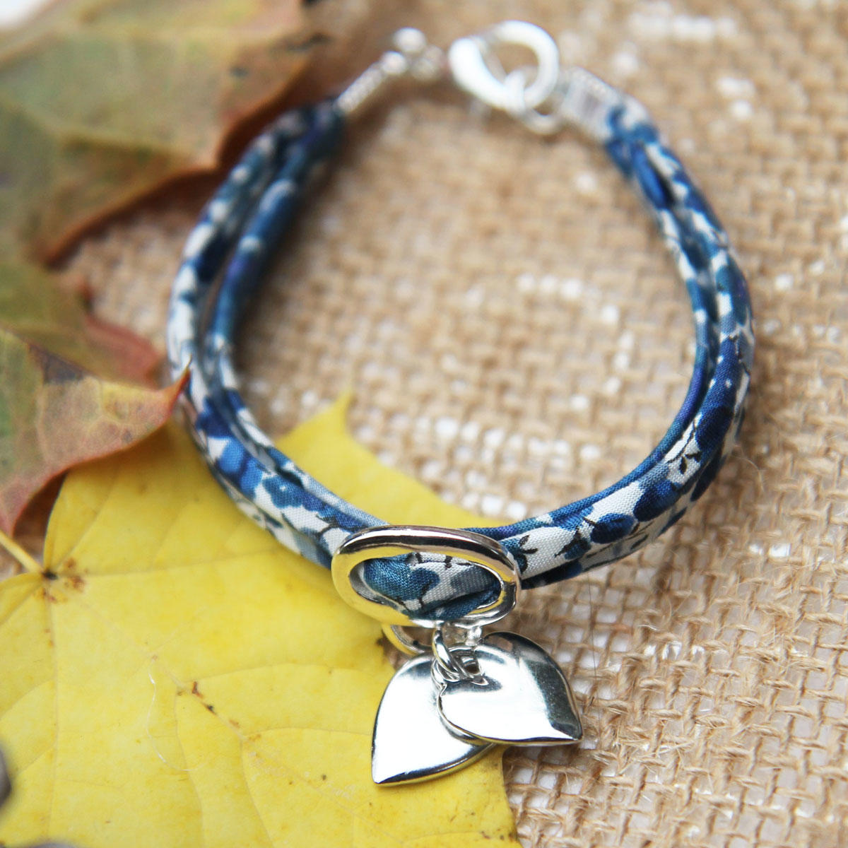 Liberty Print Blue Ribbon Bracelet with Silver Hearts