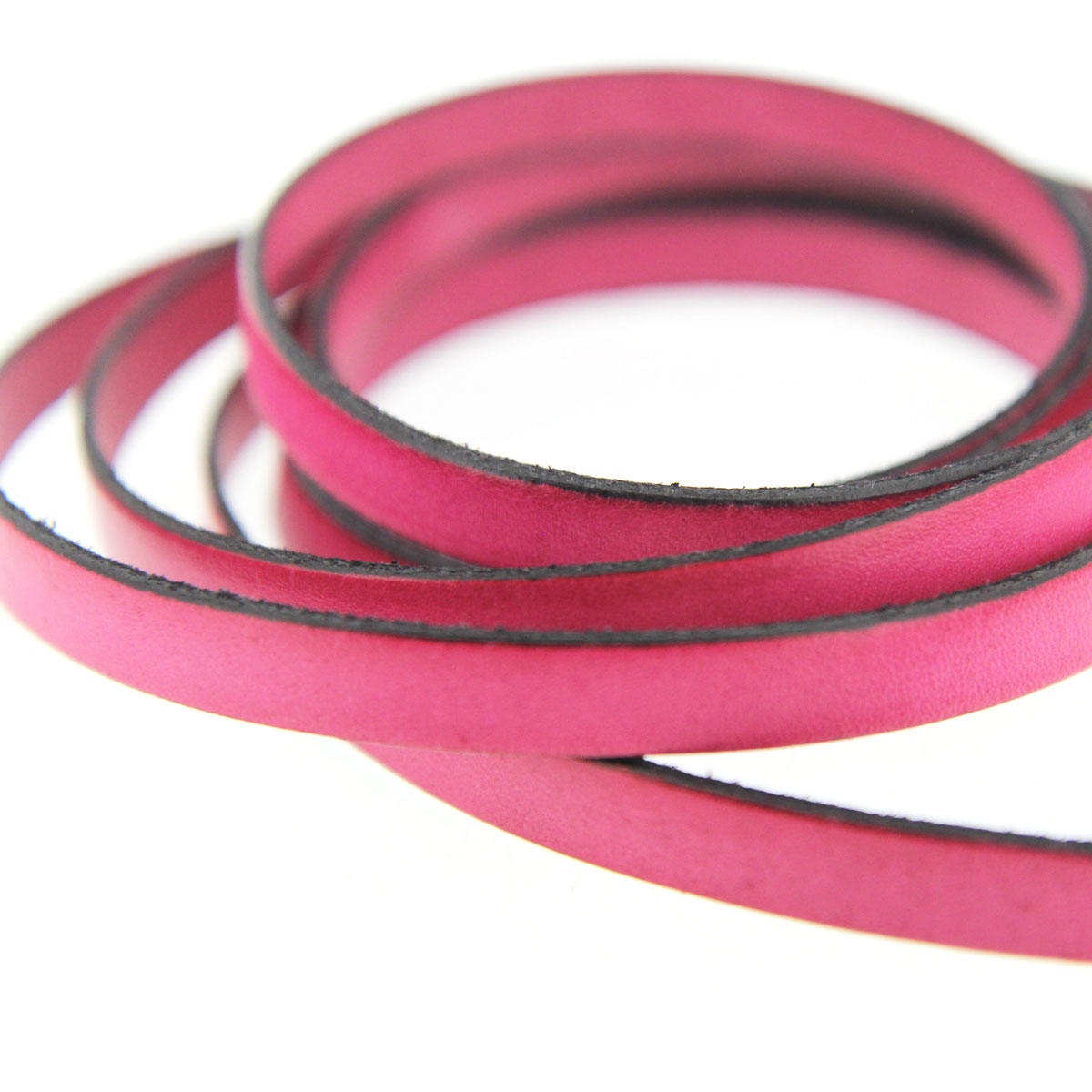 Pink 10mm Flat Leather Cord