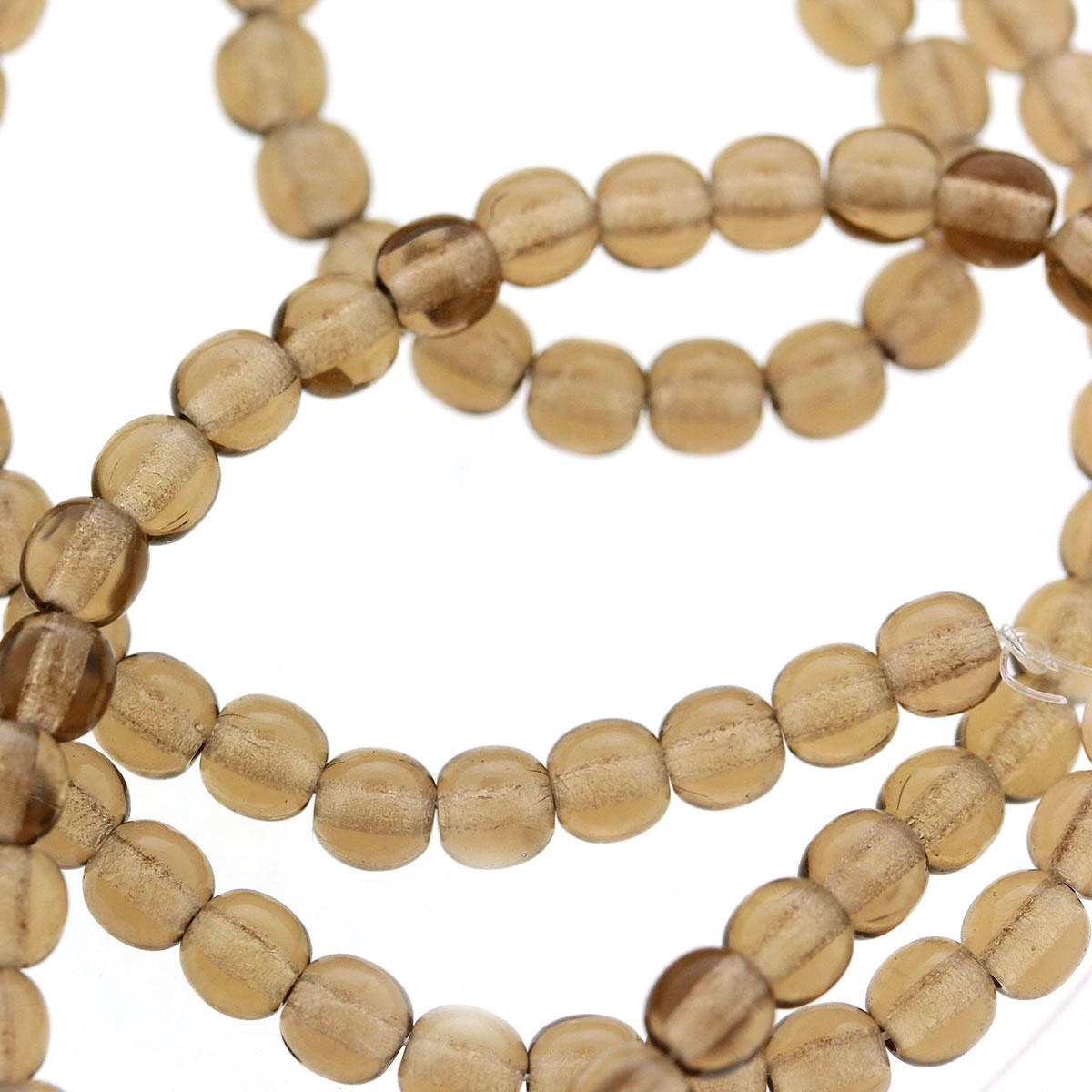 Smokey topaz 4mm Czech Glass Round Beads