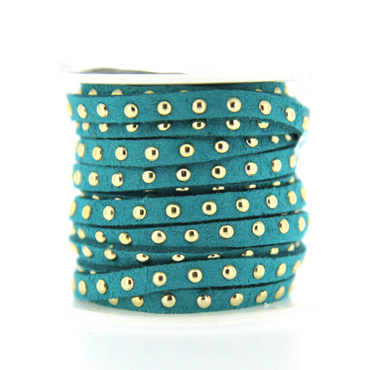 Turquoise 5mm Faux Suede with gold rivets