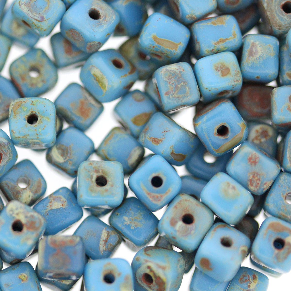 Turquoise Mottled Cube Bead