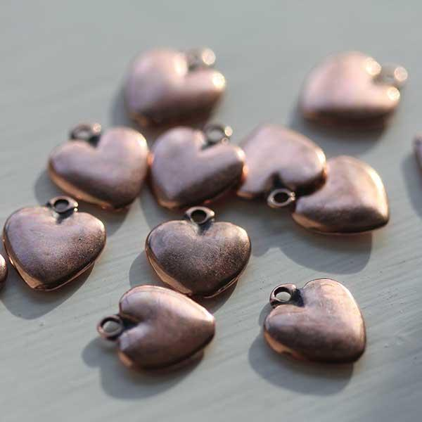 Heart Charm Antique Copper