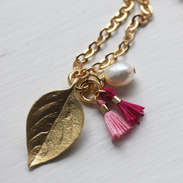 Tiny Tassels and Leaf Necklace