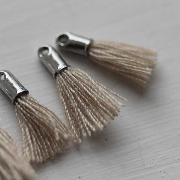 Taupe Tiny Tassel with Silver
