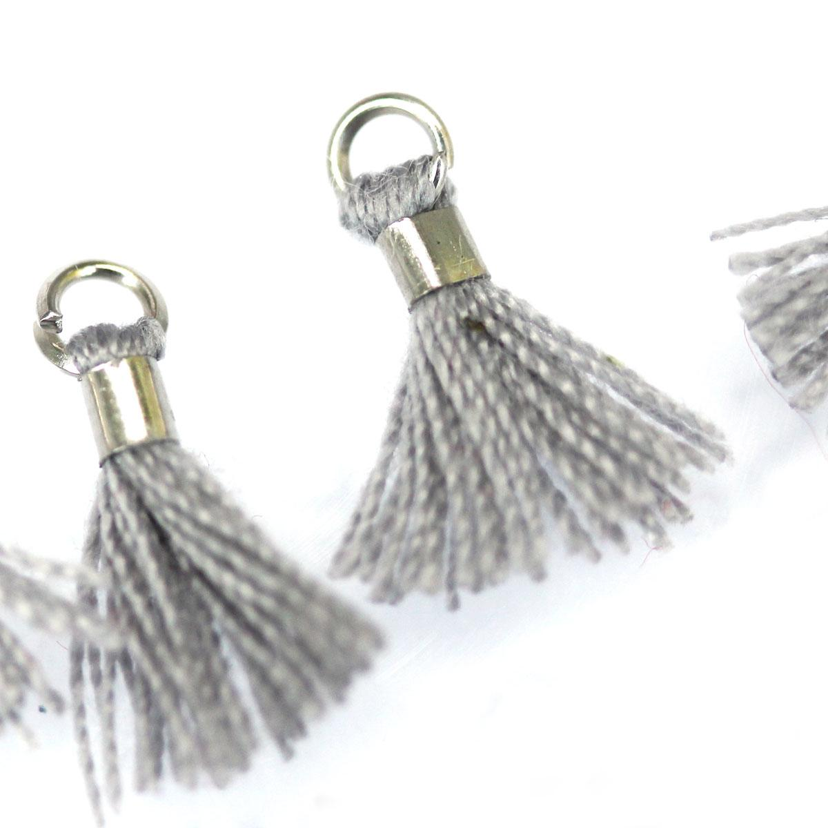 Grey tiny tassel with silver findings
