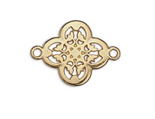 Gold Cross with Flowers Charm