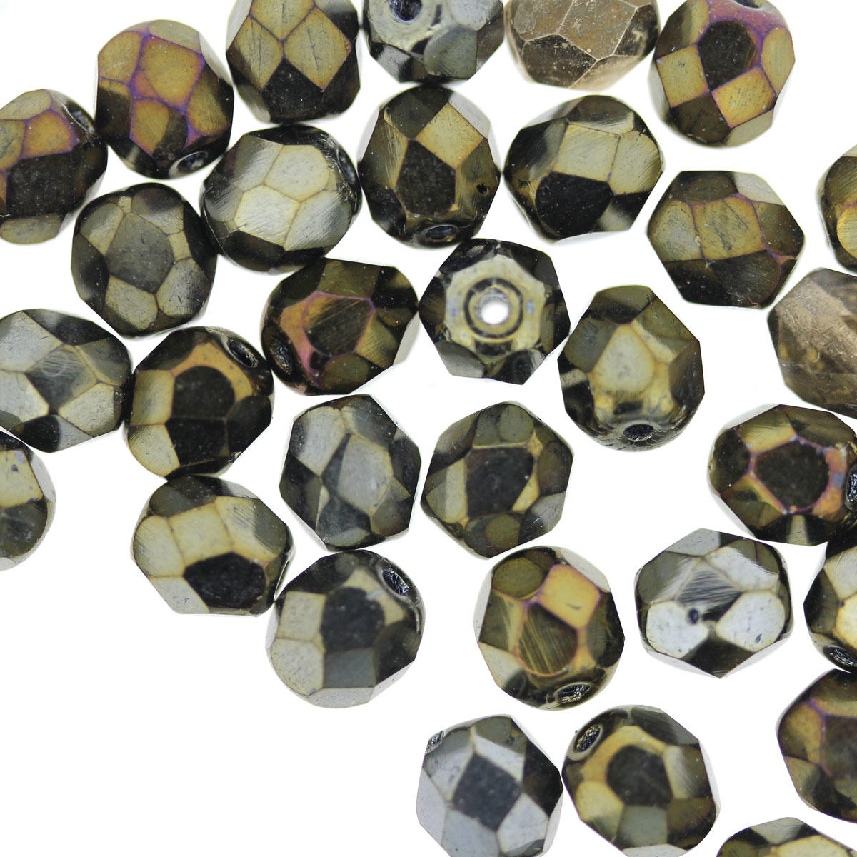 Dark Olive Green 6mm Fire Polished Bead