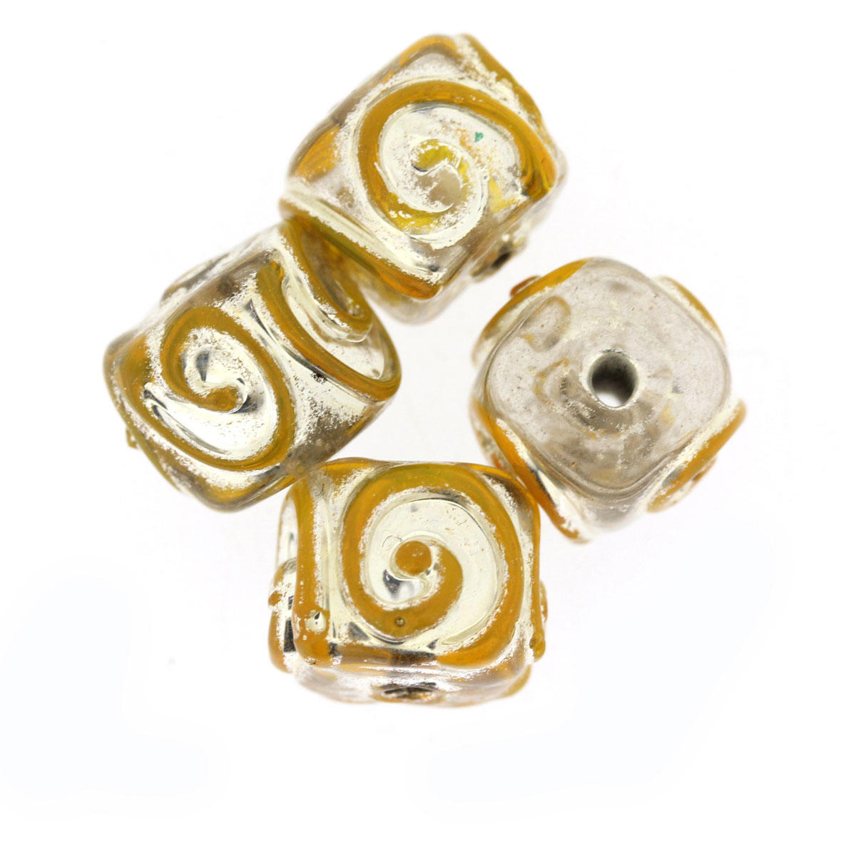 Crystal and Yellow Glass Cube Bead