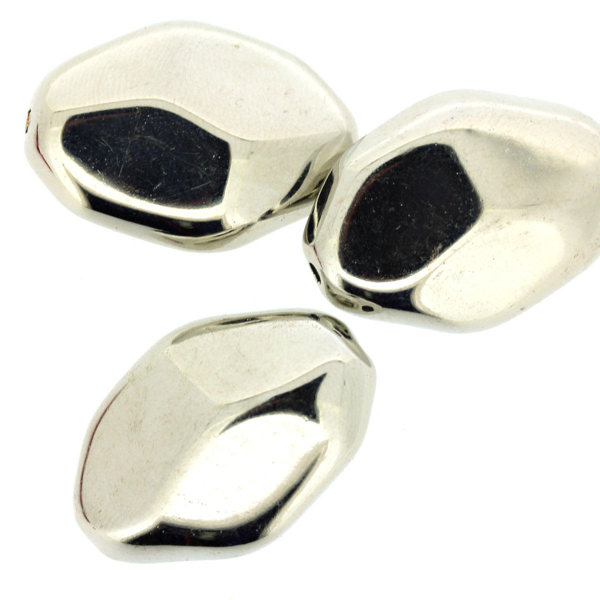 Silver Faceted Oval Acrylic Bead