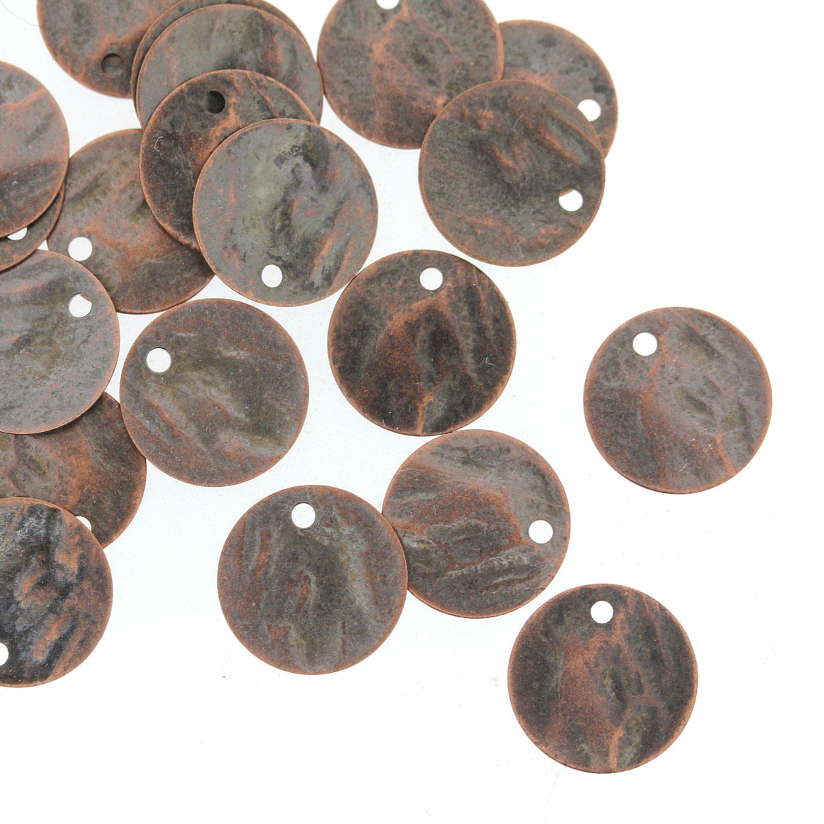 Antique Copper Small Hammered Coin Charm