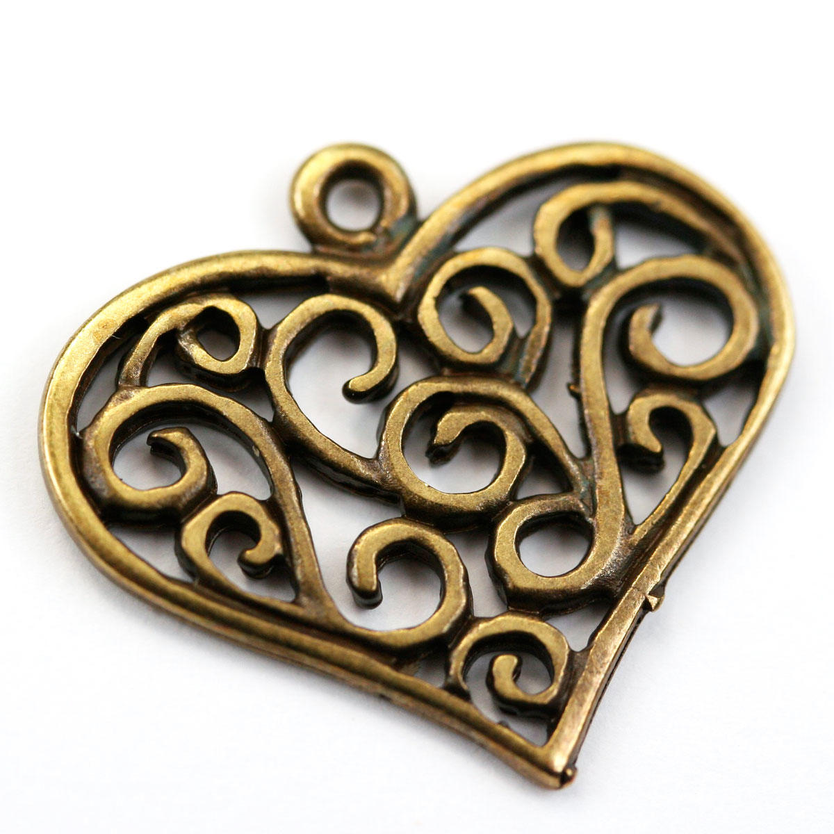Antique Gold Filigree Heart Charm