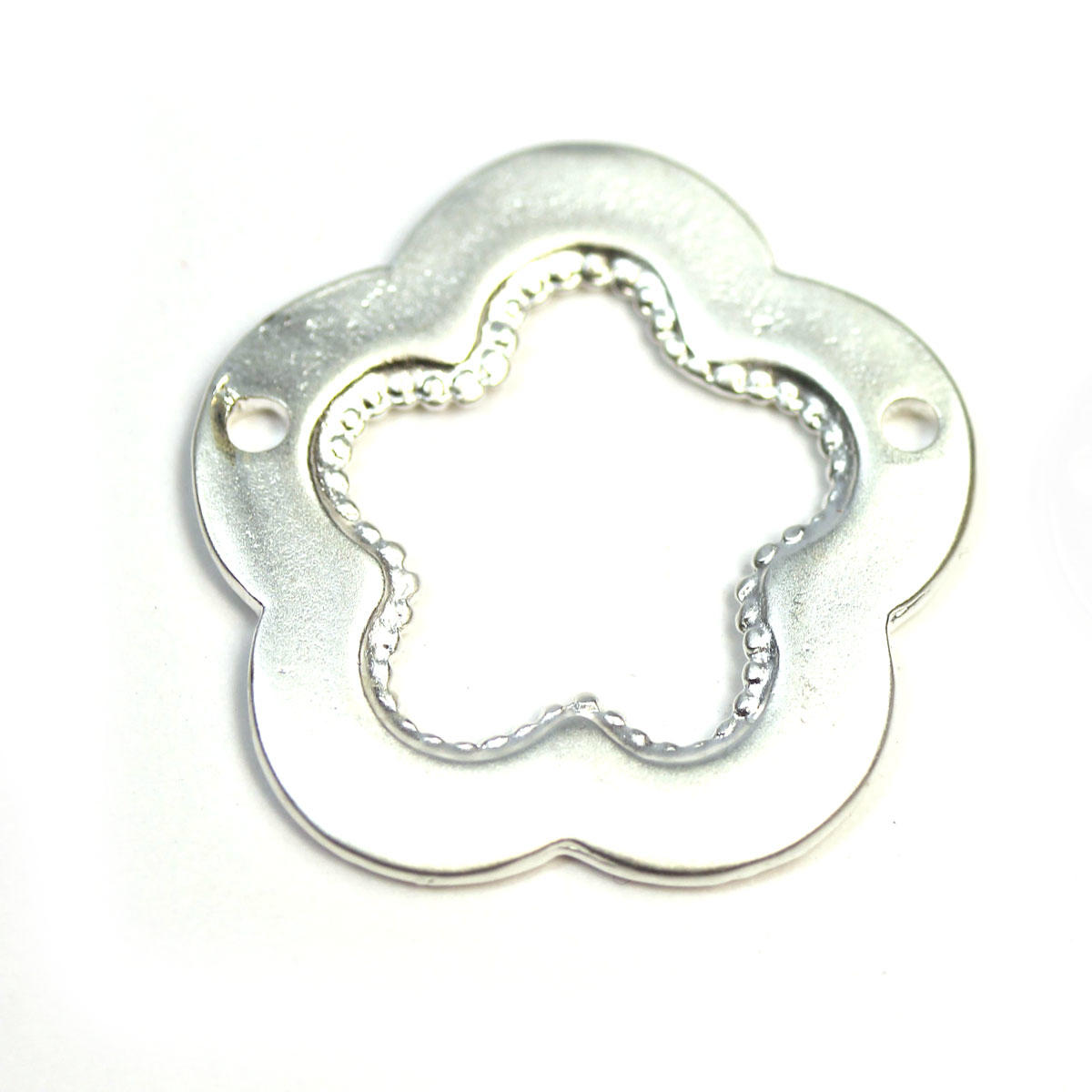 Silver Tunisian Flower Two Holed Connector Charm