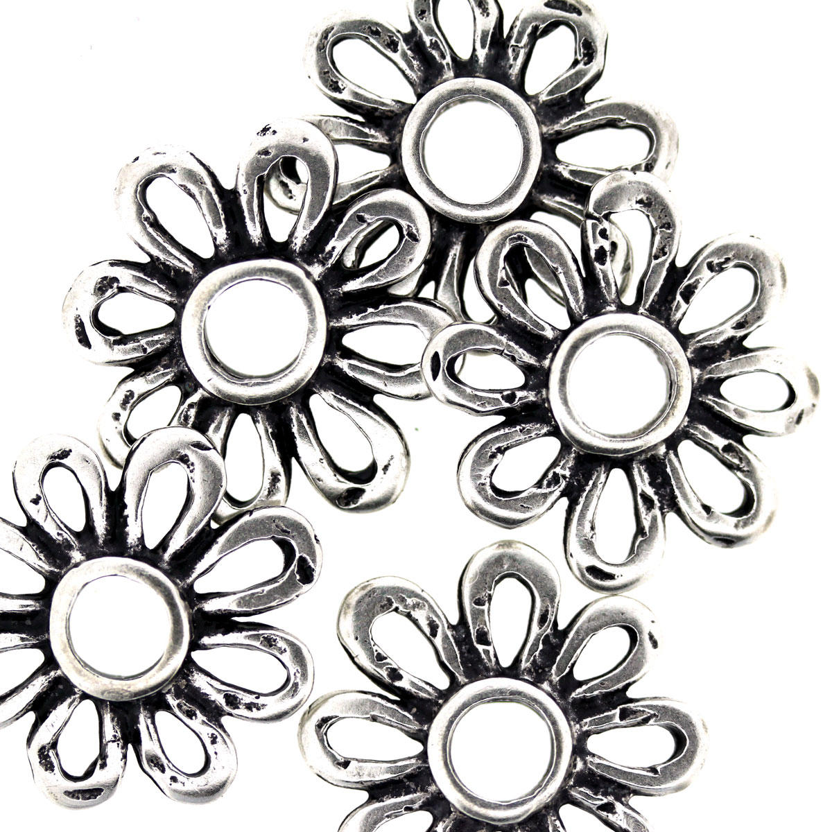 Antique Silver Margarita Daisy Charm Bead