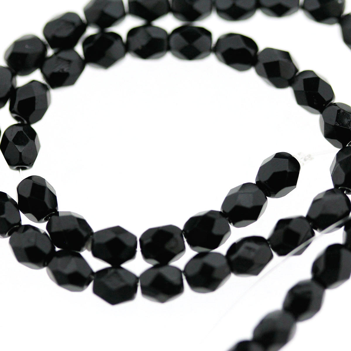 Black 4mm Czech Glass Faceted Bead
