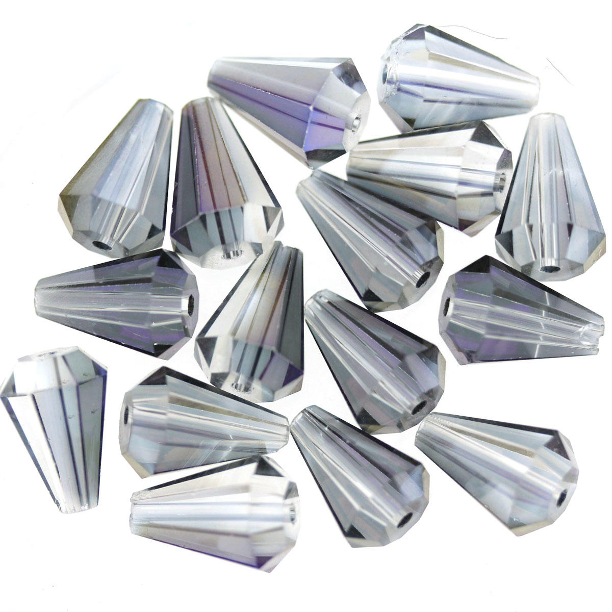 Charcoal Rainbow Coated Square Cut Drop Beads