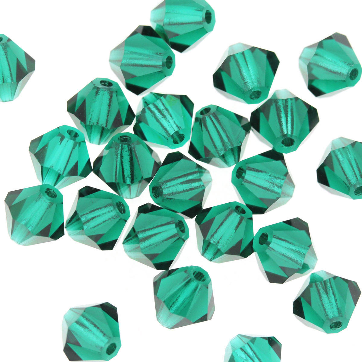 Emerald Crystal Bicone 6mm Beads
