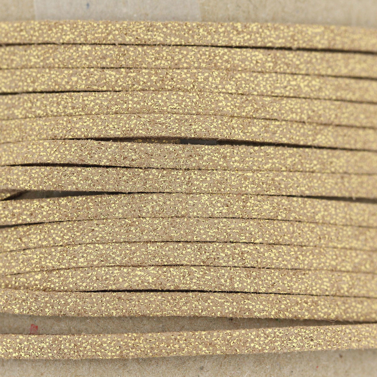 Gold Sparkle Faux Suede Bead Cord