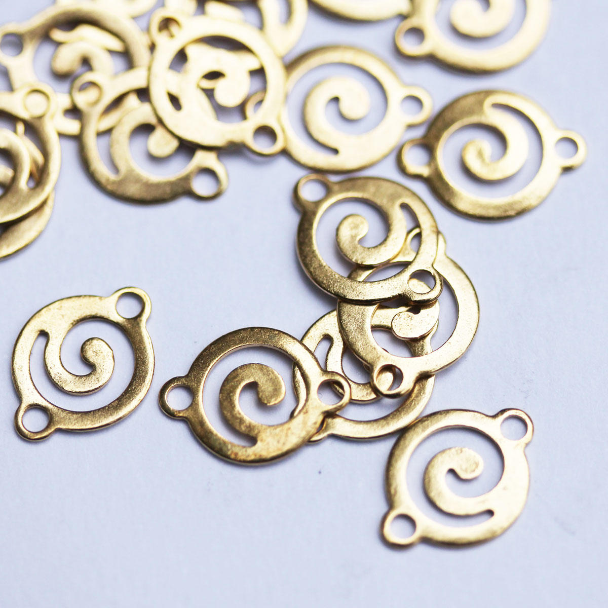 Gold Tribal Swirl Small Connector Charm