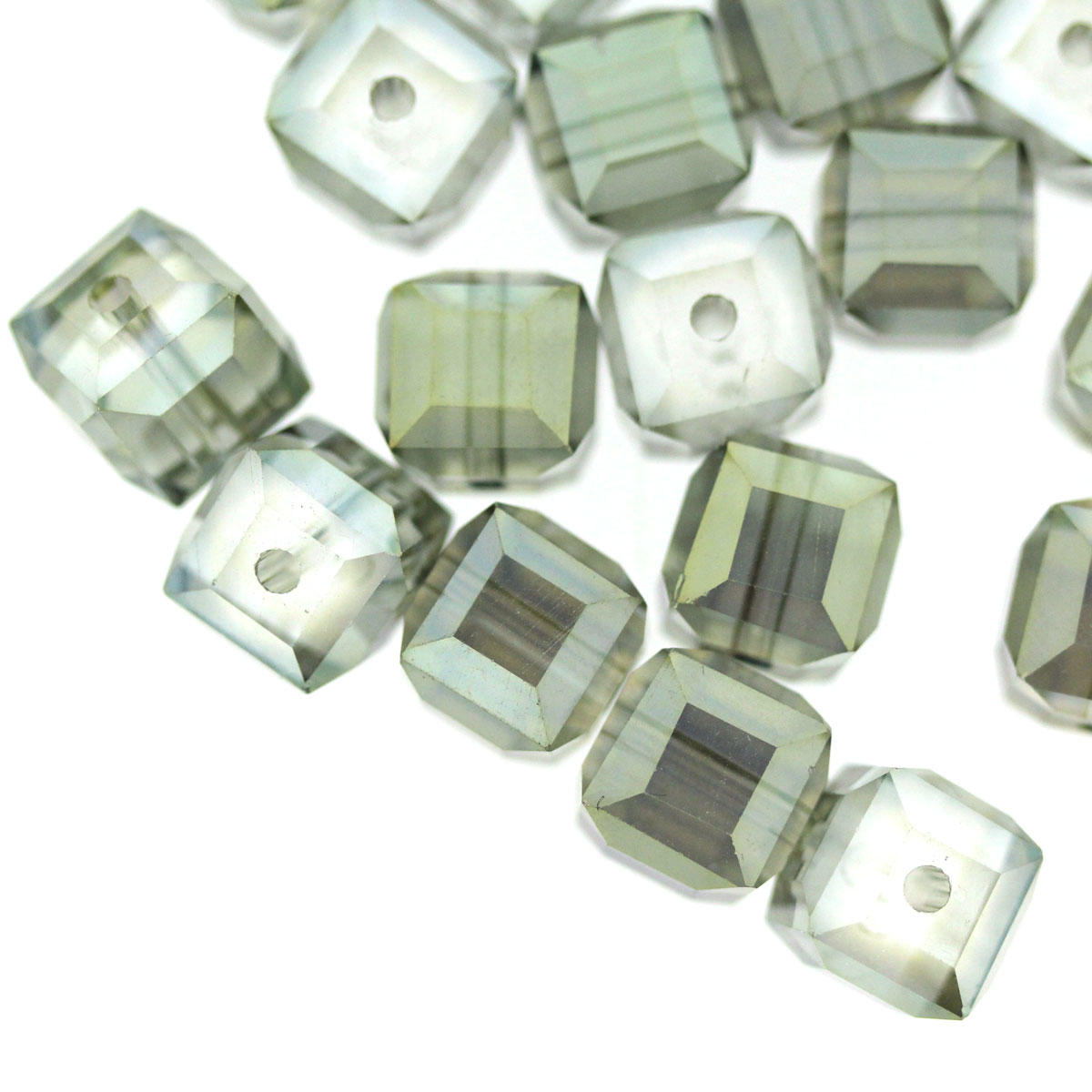 Khaki AB Coated Faceted Glass Cube Bead