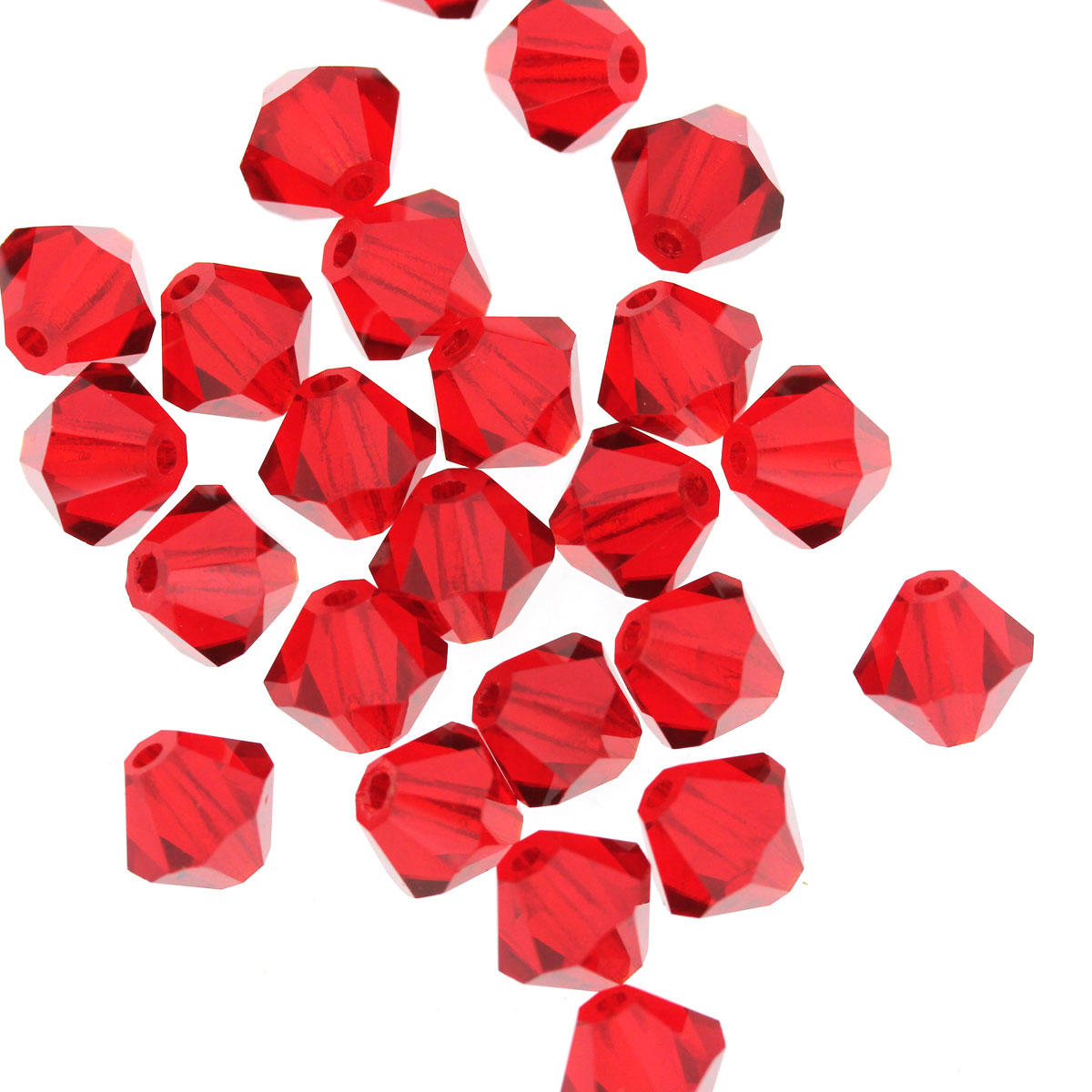 Red Siam Crystal Bicone Glass Bead