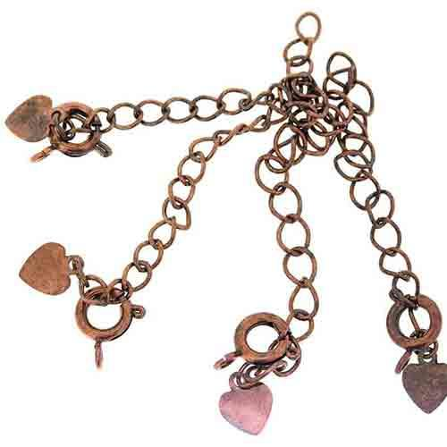 Antique Copper Extender Chain with Heart Tag and Bolt