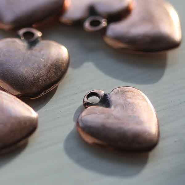 Small Antique Copper Heart Charm