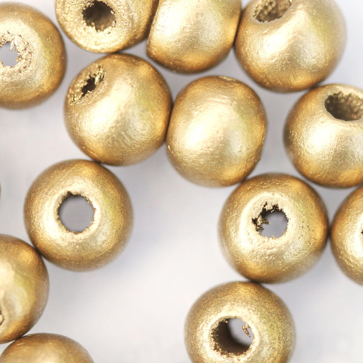 SPRAYED GOLD WOODEN BEADS
