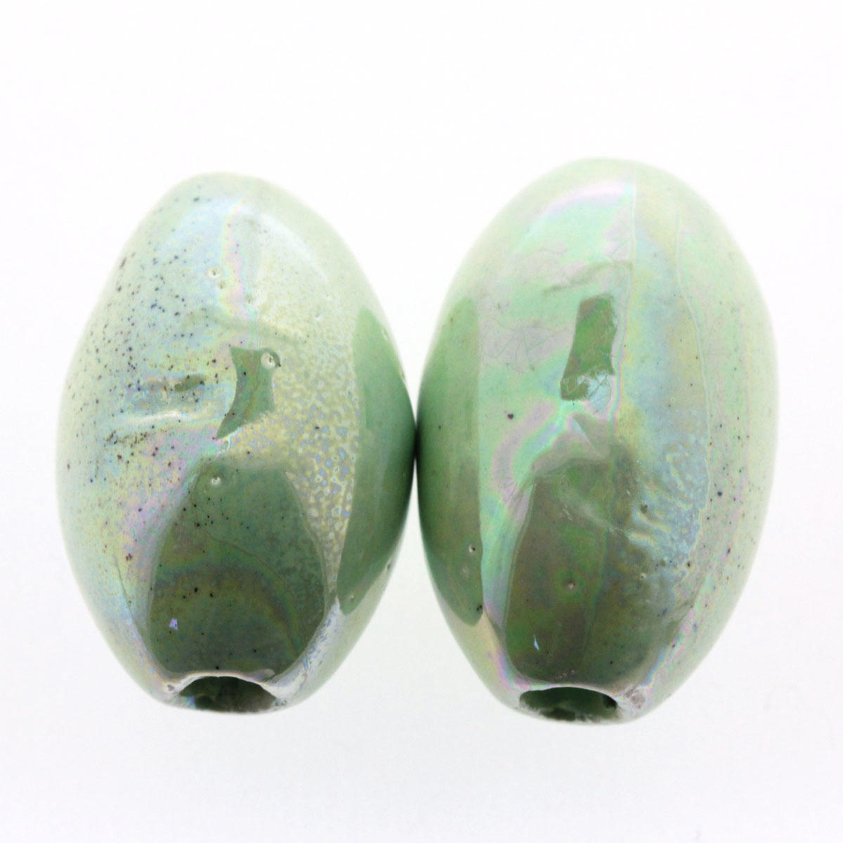Pistachio Green Ceramic Melon Bead