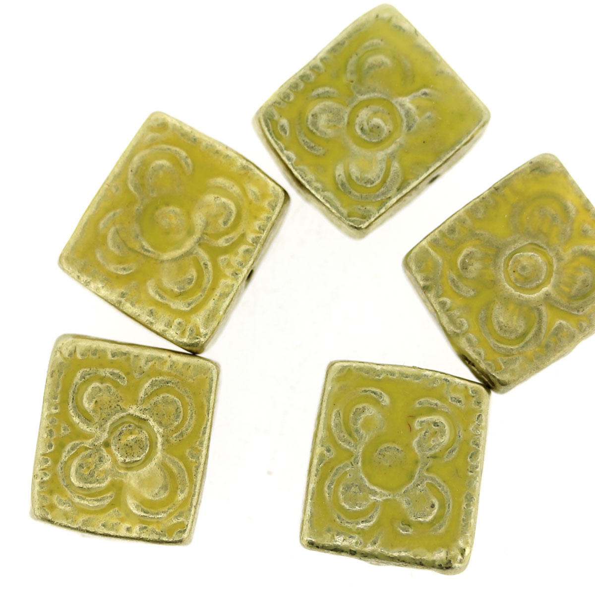 Yellow Bollywood Rectangle Metal Bead