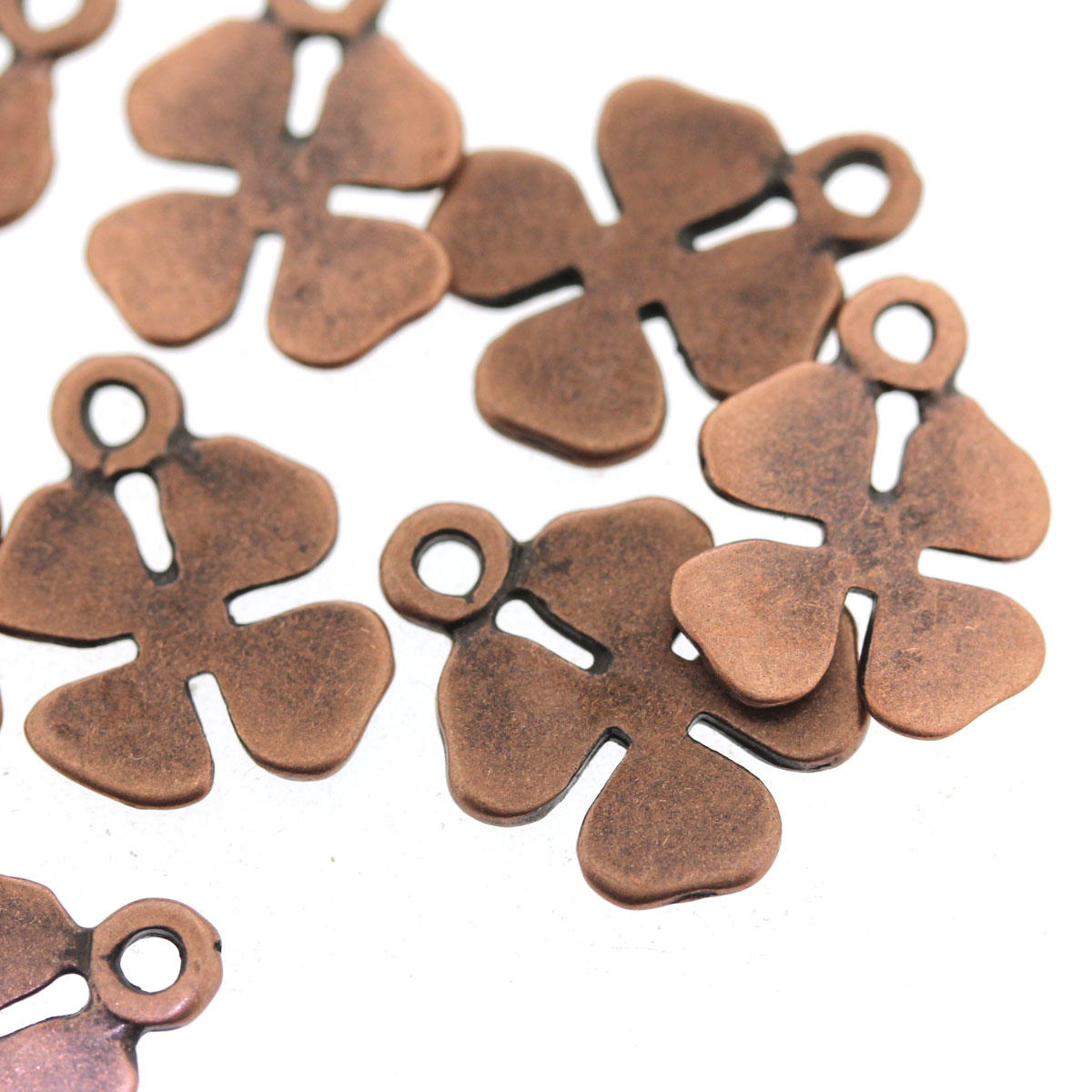 Antique Copper Clover Petal Bead