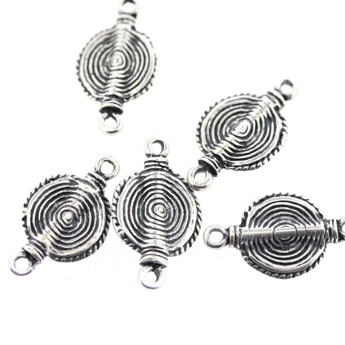 Antique Silver Swirl Connector Charm Bead