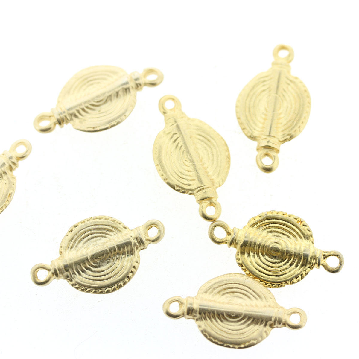 Gold Two Holed Swirl Connector Charm