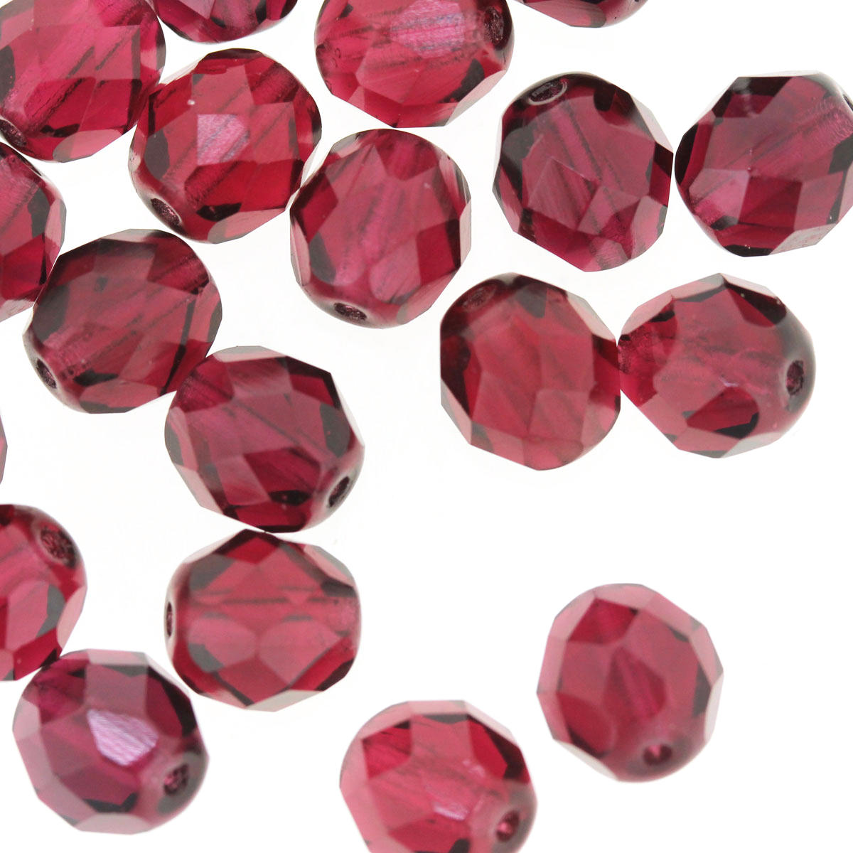 Cranberry 8mm Fire Polished Bead