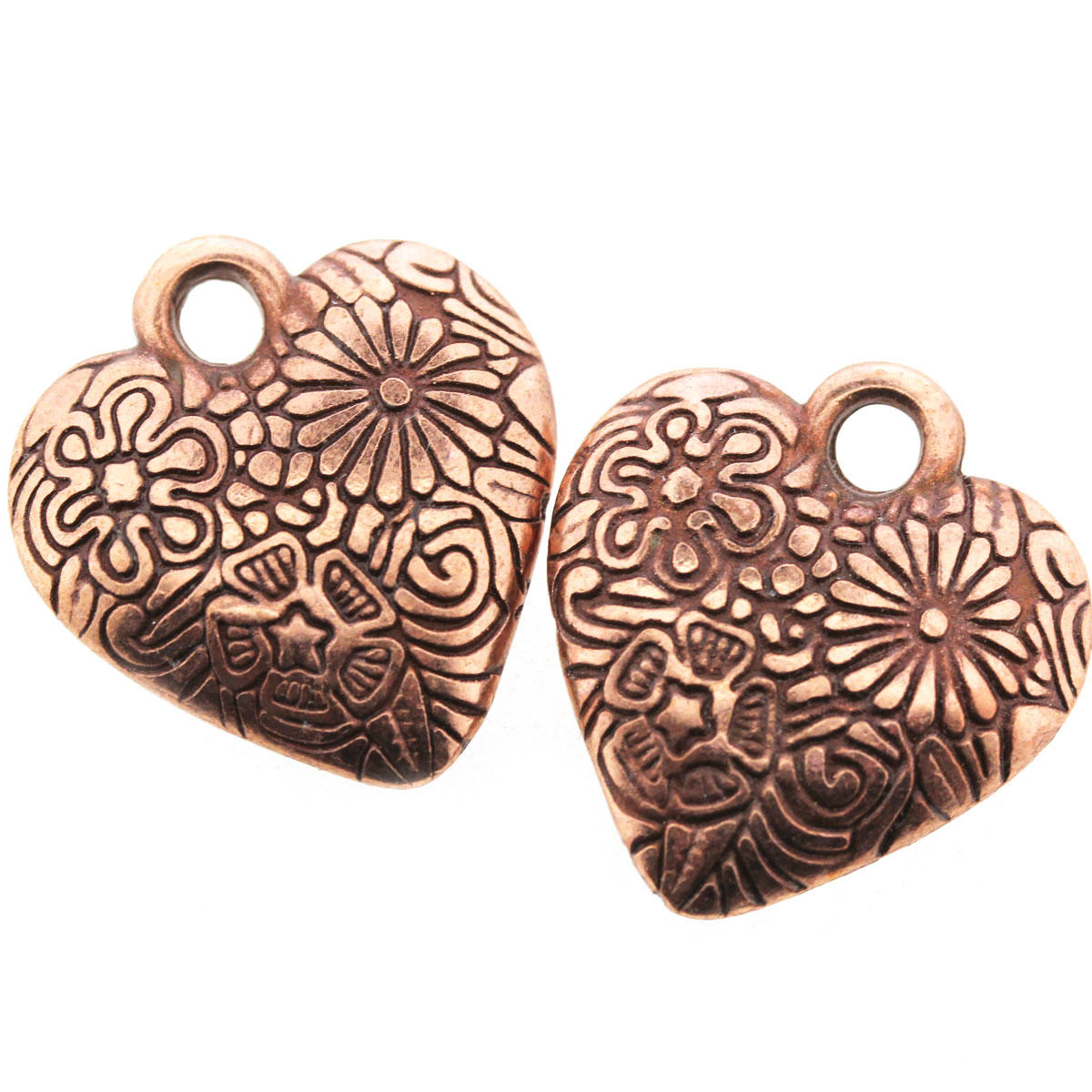 Antique Copper Flowered Heart Charm