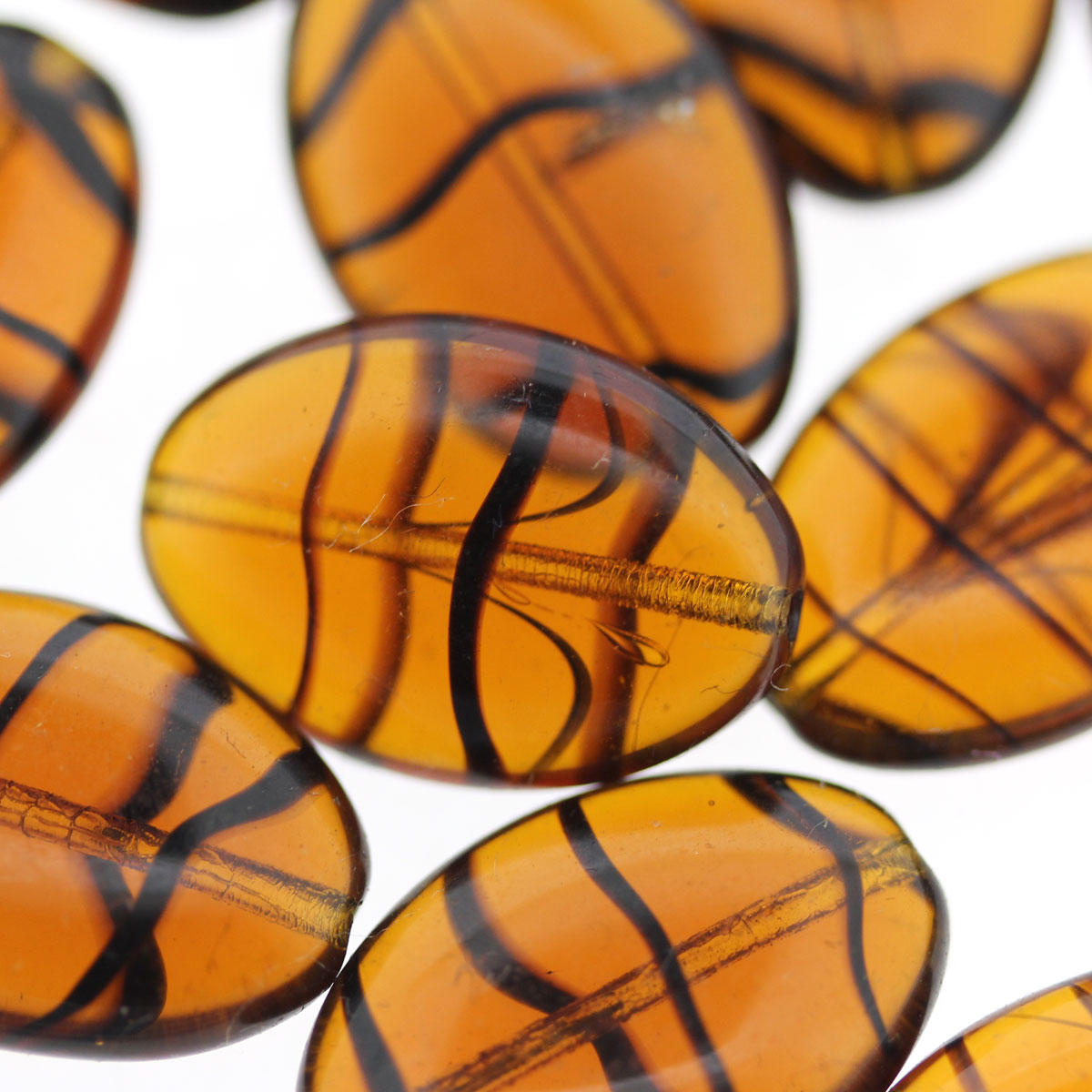 Tiger Oval Glass Beads