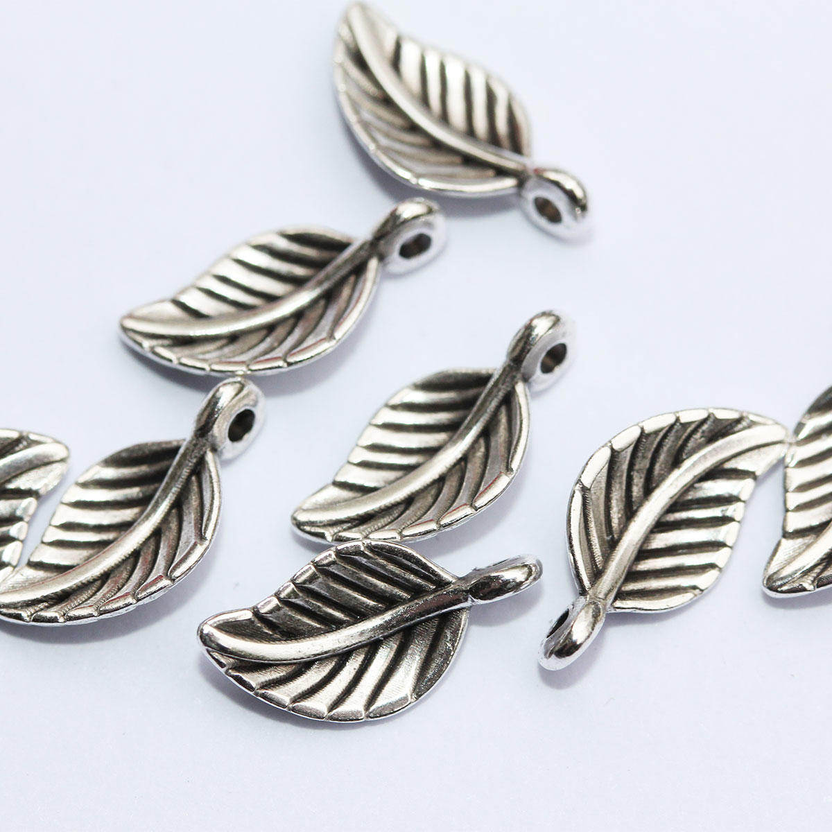 Antique Silver Delicate Leaf Charm
